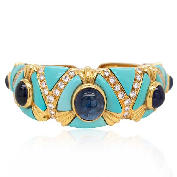 Sapphire Diamond Turquoise 18K Gold Bangle - Lueur Jewelry
