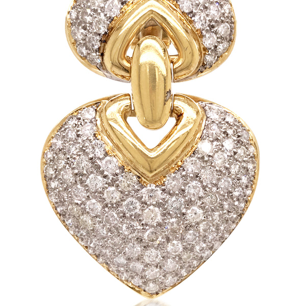 Heart Shaped Diamond Gold Earrings - Lueur Jewelry