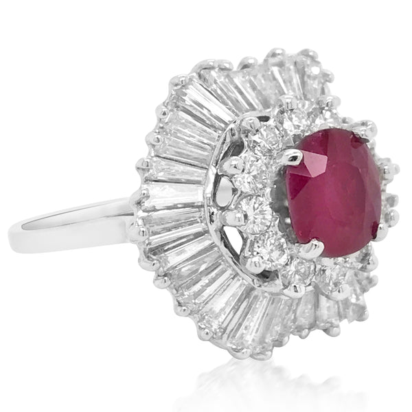 Ruby Cluster Diamond Ring - Lueur Jewelry