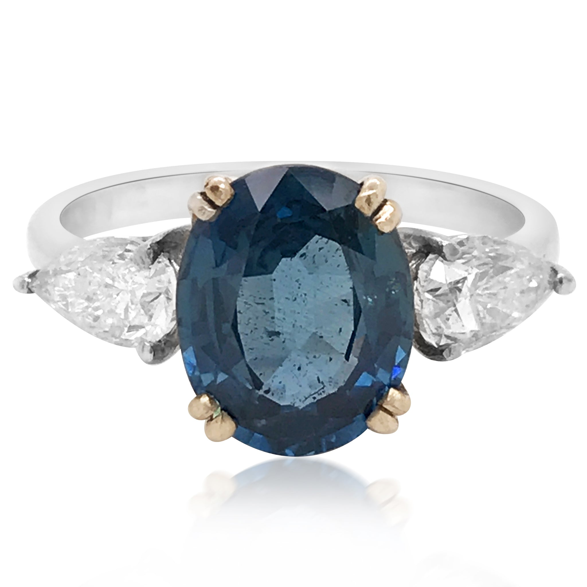 18K White Gold Sapphire Diamond Ring - Lueur Jewelry