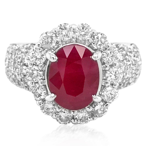 18K White Gold Ruby Diamond Ring - Lueur Jewelry