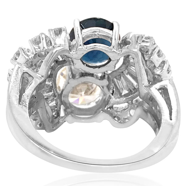 Platinum Sapphire Diamond Ring - Lueur Jewelry
