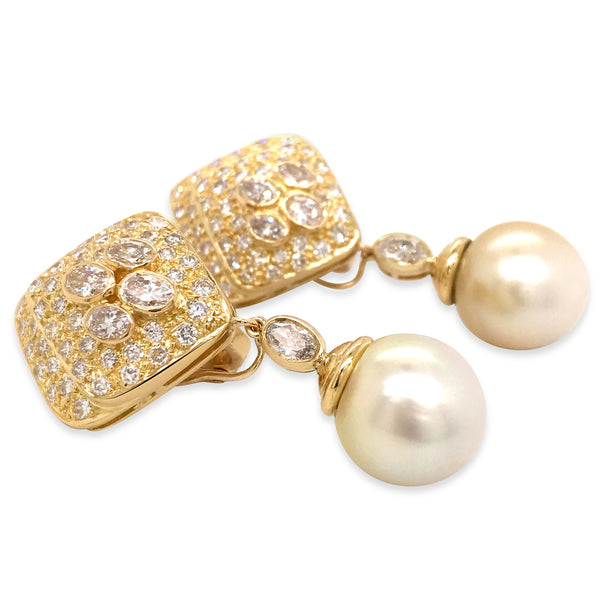 Diamond Gold Earrings with Pearl Droplets - Lueur Jewelry