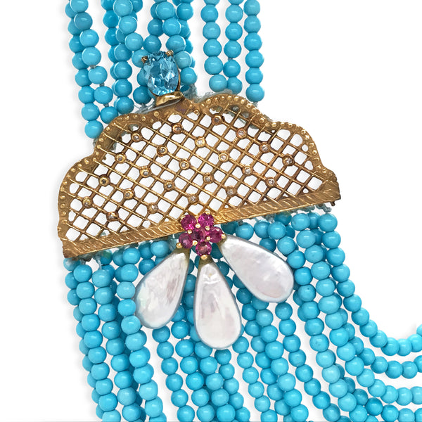 Turquoise Gold Necklace - Lueur Jewelry