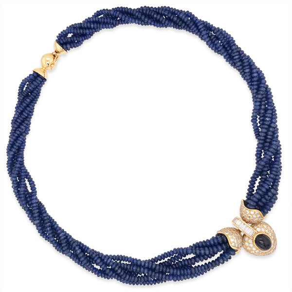 Sapphire Bead and Diamond Necklace - Lueur Jewelry