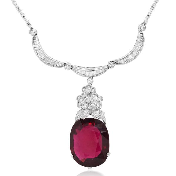 Diamond Necklace with Garnet Droplet - Lueur Jewelry