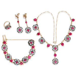 14K Gold Enamel Simulated Ruby and Pearl Suite - Lueur Jewelry