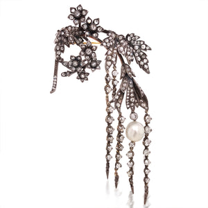 Silver-top Gold Flower Brooch with Natural Pearl - Lueur Jewelry