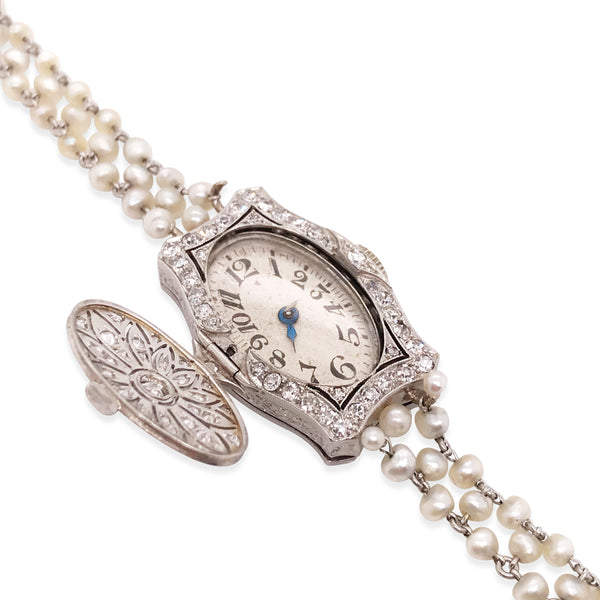 Art Deco Platinum Diamond and Seed Pearl Surprise Wristwatch
