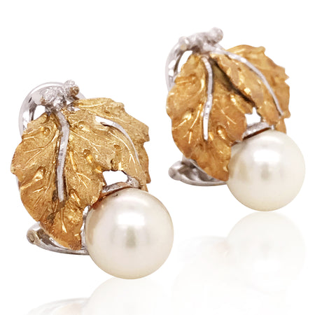 Buccellati, Bicolor Gold Pearl Leaf Earrings