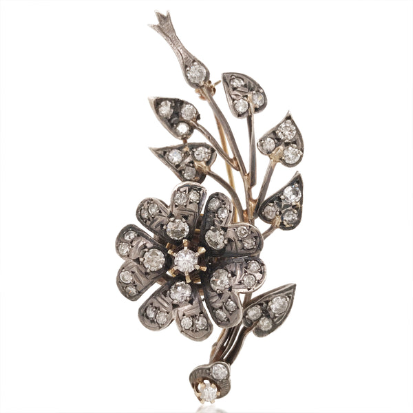 Gold and Silver Diamond En Tremblant Spray Brooch