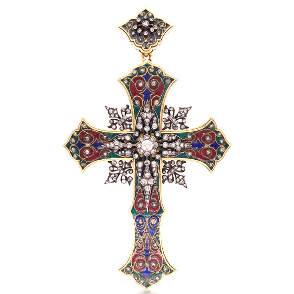 18K Gold Silver Enamel Diamond Cross Pendant