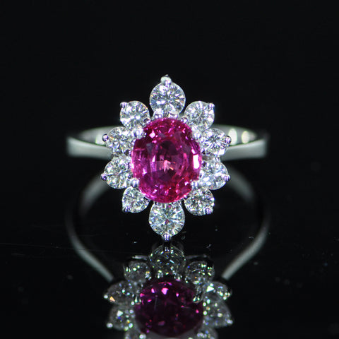 Unheated 2.4 carats Pink Sapphire and Diamond Flower Shape Ring