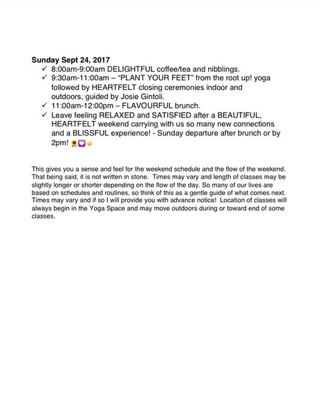 FALL 🍂🍁 into Yogidioms Yoga Retreat Sept 22-24, 2017!