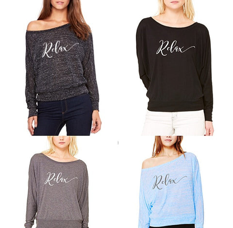 Relax long sleeve on or off the shoulder top!