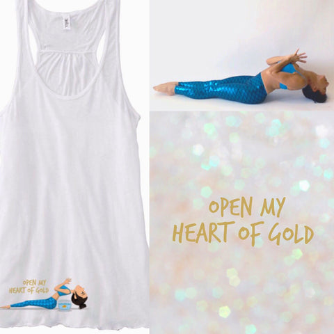 Open my heart of gold flowy tank!