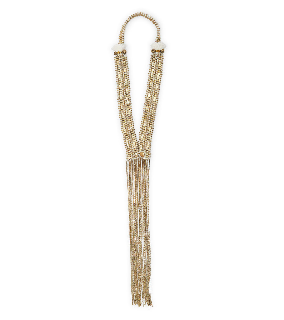 MADU CHA CHA WHITE TASSELS BRASS CHAIN NECKLACE