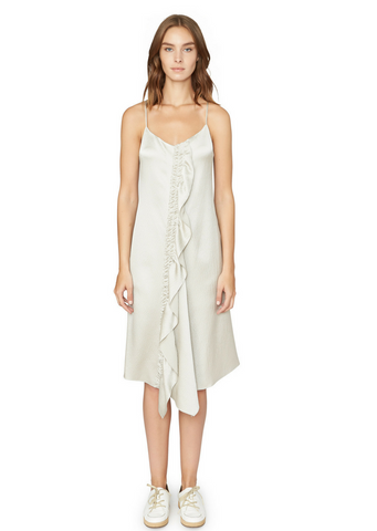 ASYMMETRIC MIDI SLIP DRESS