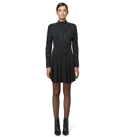 MOCK NECK EMBROIDERED DRESS
