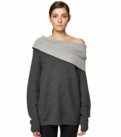 CASHMERE EXPOSED SHOULDER SWEATER