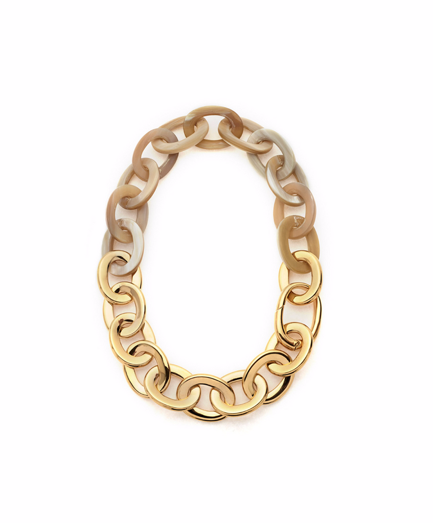 HORN & GOLD OVAL LINK NECKLACE