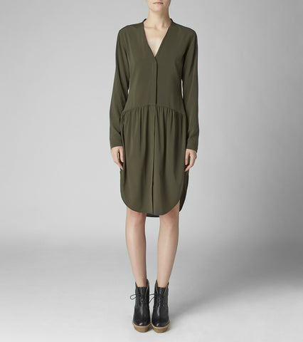 COLLARLESS SHIRT DRESS