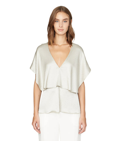 DOUBLE LAYER DRAPED BLOUSE