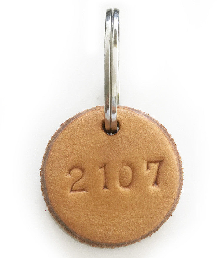 Tan Leather Postcode Keyring (2106)