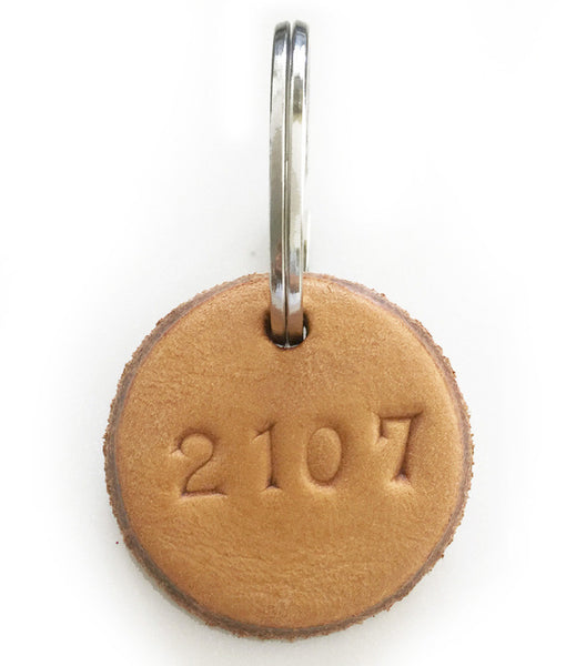 Tan Leather Postcode Keyring (2108)