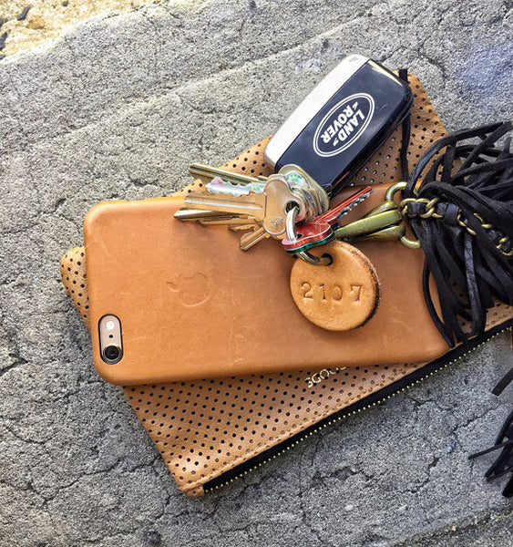 Tan Leather Postcode Keyring (BAE) IN STOCK