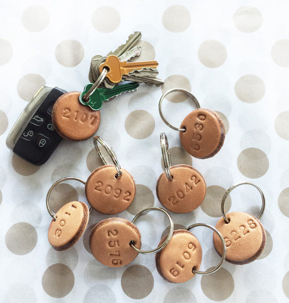 Tan Leather Postcode Keyring (BABE) IN STOCK