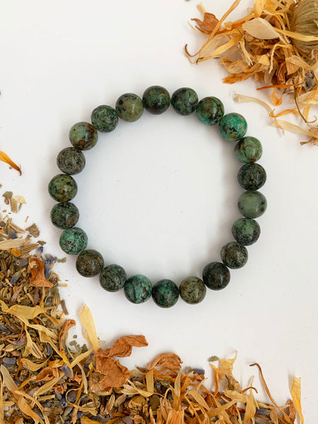 AFRICAN TURQUOISE Healing Crystal Bracelet • NEW