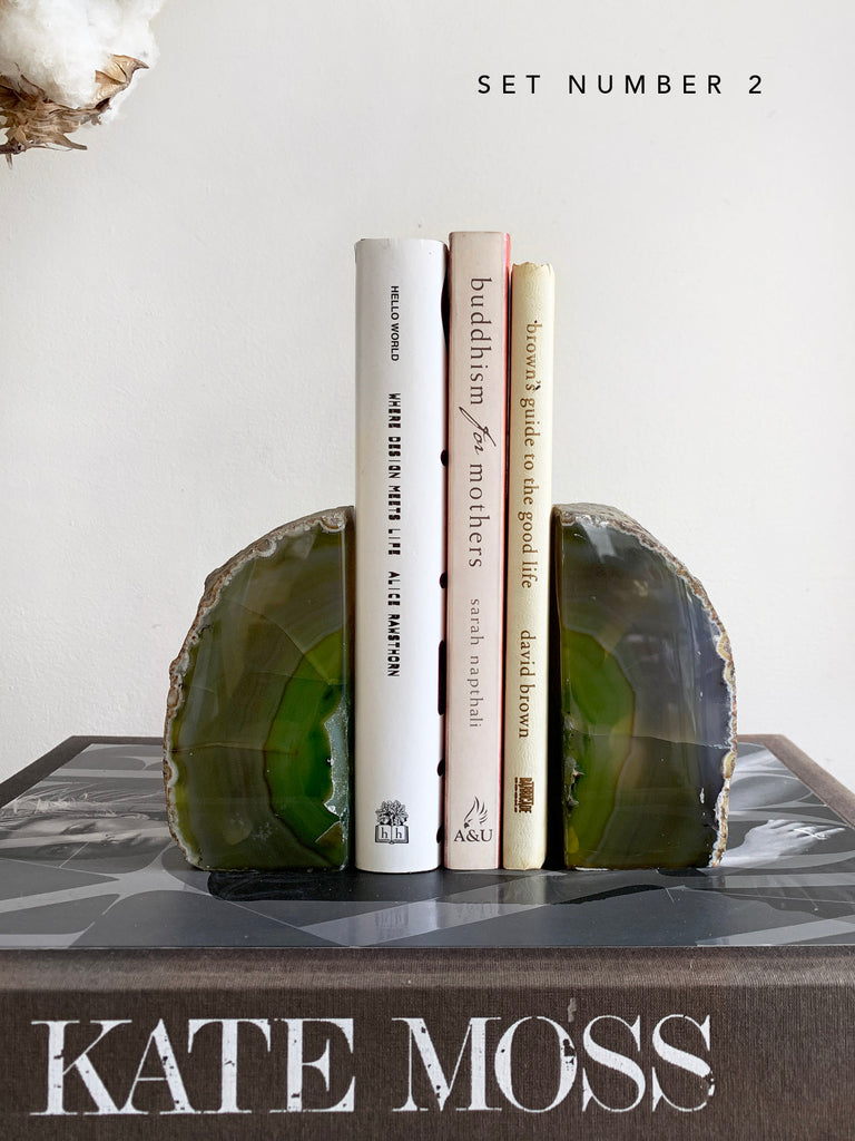 Green Agate Bookends Pair (Set #2)