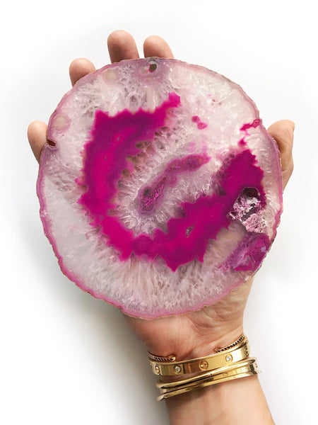 Agate Slice Fuchsia (Large 15cm) NEW
