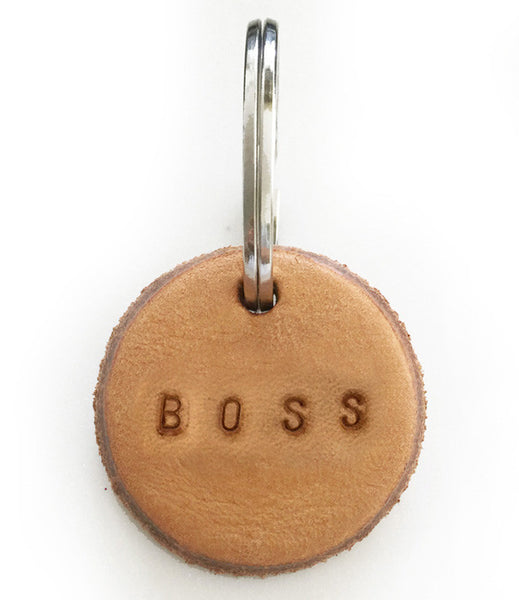 Tan Leather Postcode Keyring (BOSS)