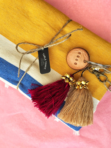 Tan Leather Postcode Key Ring (BOSS)