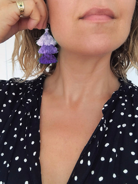 Cascade Tassel Earrings (Lilac)