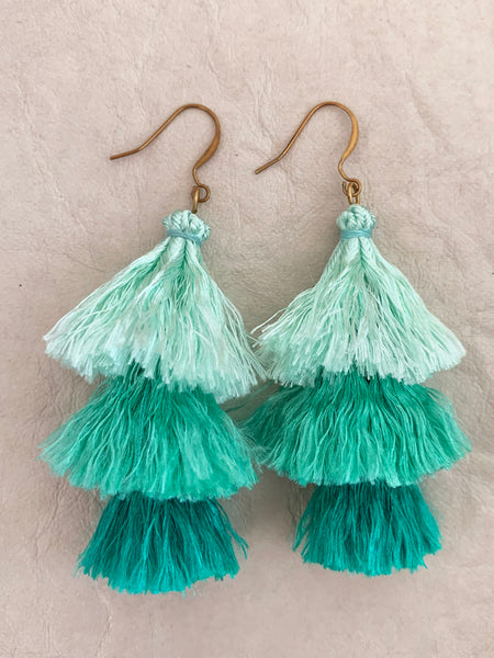Cascade Tassel Earrings (Mint)