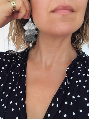 Cascade Tassel Earrings (Pebble)