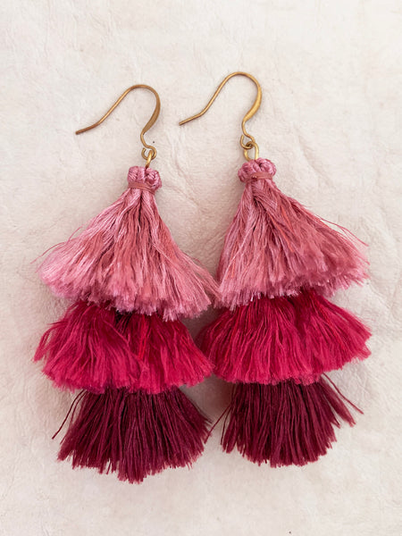 Cascade Tassel Earrings (Rouge)