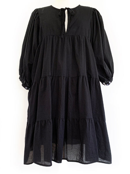 "Chowchilla Vintage Arkie MINI Dress ""Black Cotton Voile"""