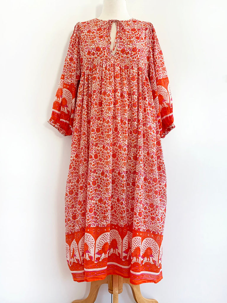 "Chowchilla Vintage Indian Bohemia Dress ""Arkie"" (Tangerine) • NEW"