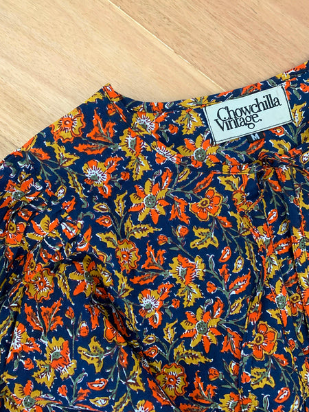 "Chowchilla Vintage Indian Bohemia Dress ""Arkie"" (Navy Blossom) • NEW"