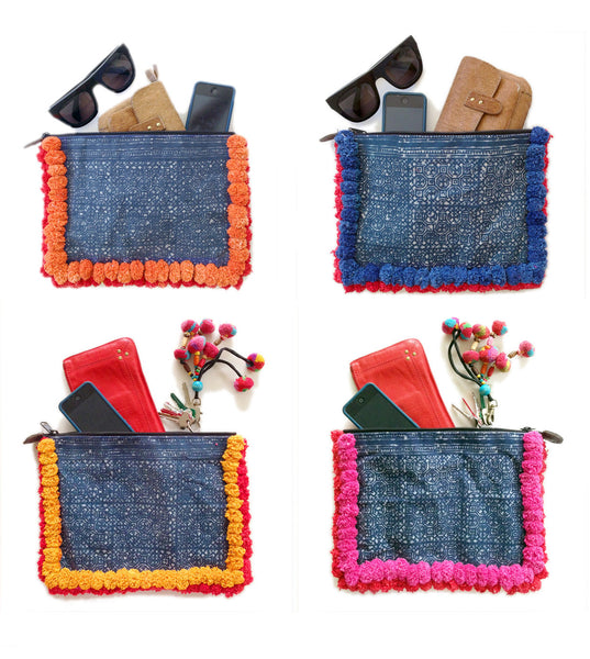 Almighty Love Pompom Clutch (Orange/Red)