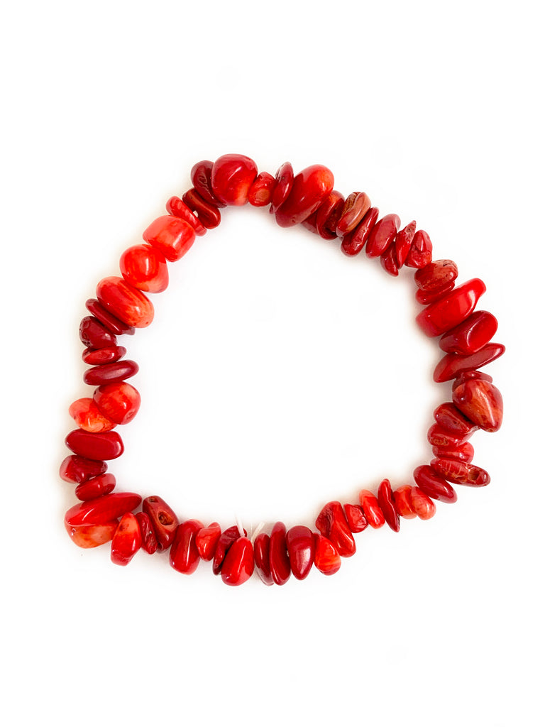 CORAL Cleansing Crystal Chip Bracelet • NEW