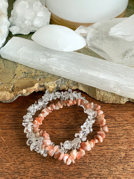 CLEAR QUARTZ Cleansing Crystal Chip Bracelet