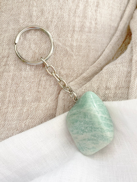 Crystal Key Ring (Amazonite Tumbled)