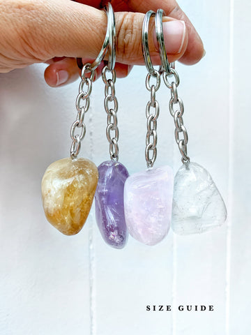 Crystal Key Ring (Smoky Quartz Tumbled) NEW