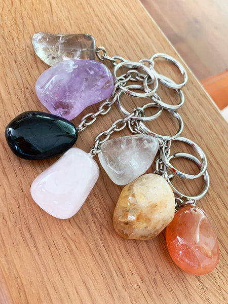 Crystal Key Ring (Clear Quartz Tumbled)