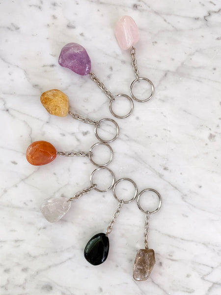 Crystal Key Ring (Black Tourmaline Tumbled)